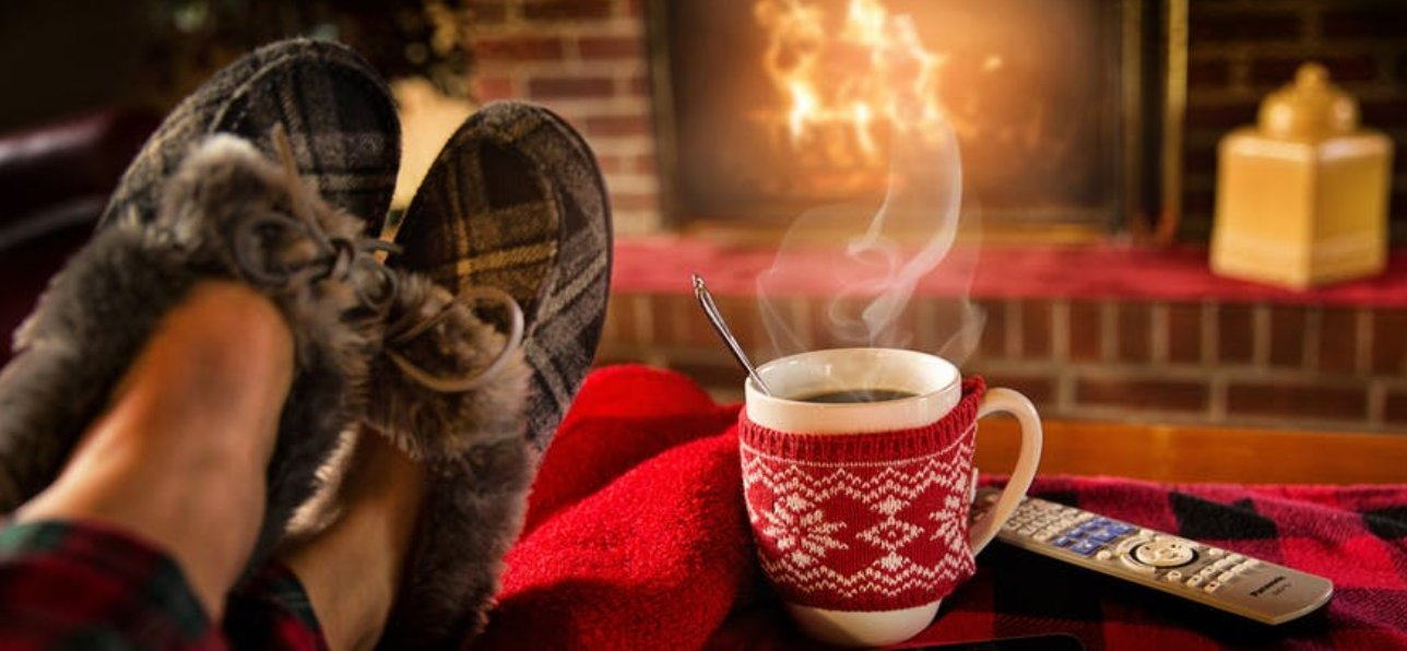 Slippers and Mug In Front of Fireplace