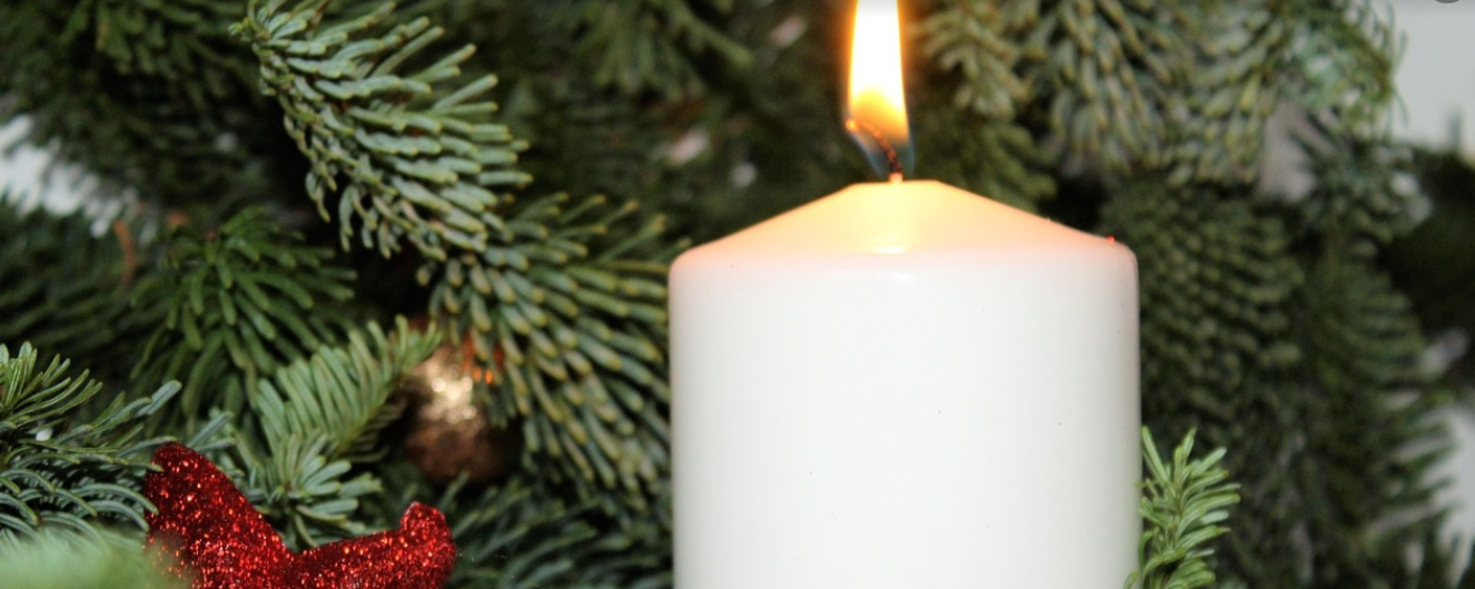 candle in a Christmas tree