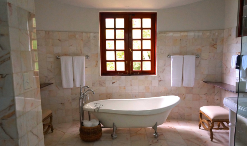 Bathtub in a spacious bathroom