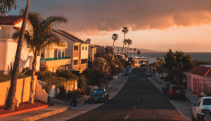 Neighborhood in California during the sunset