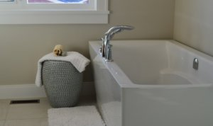 A white, clean bathtub