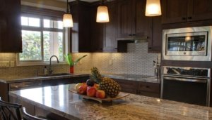 Kitchen, marble countertop & island