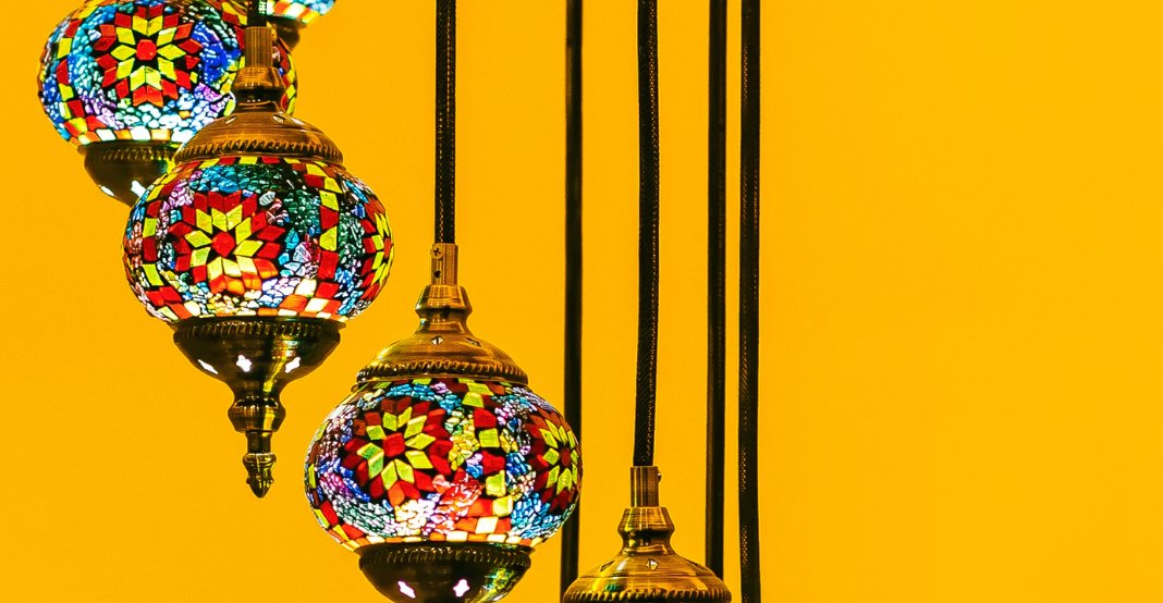Colorful hanging lamps
