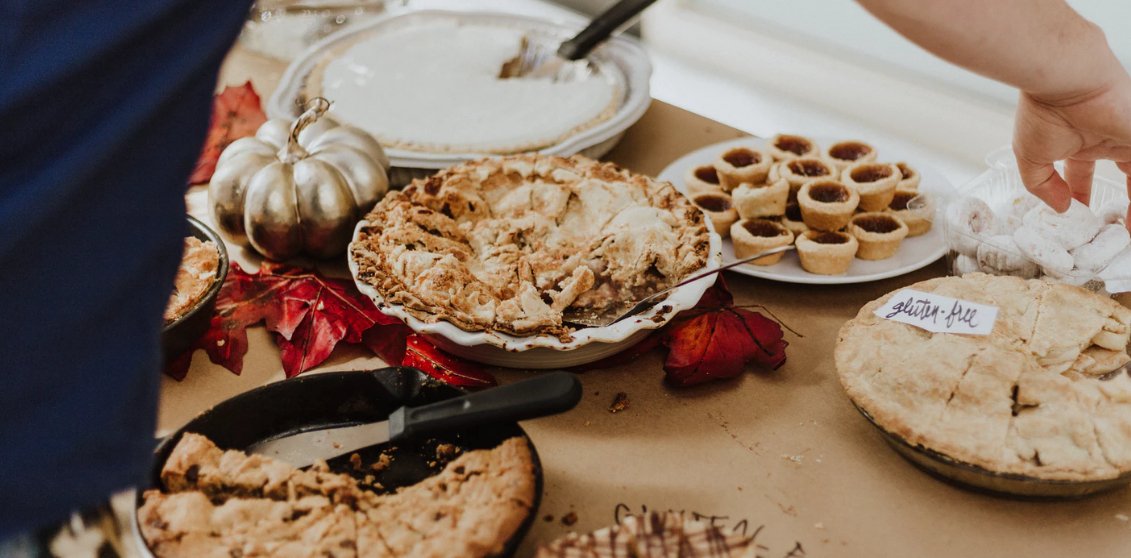 A variety of Thanksgiving pies and pastries