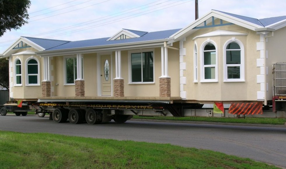 A mobile home on wheels