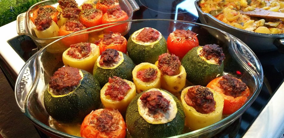Trays of baked stuffed peppers