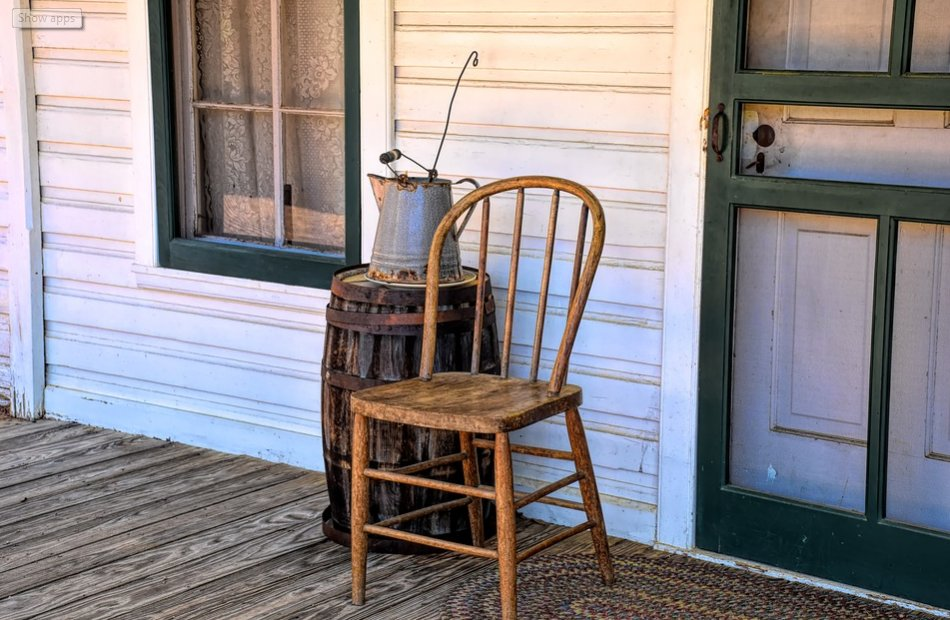Vintage chair on a porch