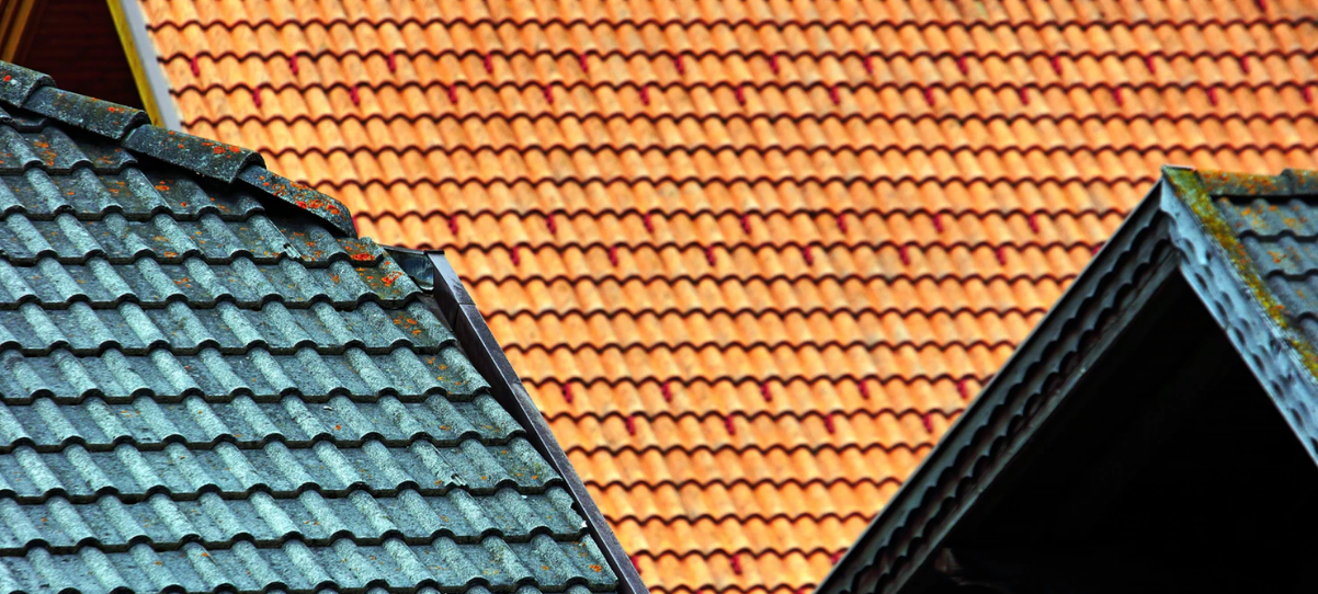 Tops of pointed house roofs
