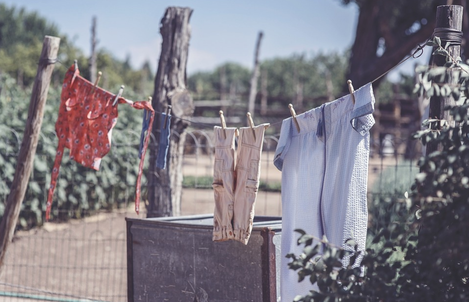 Laundry hung outdoors