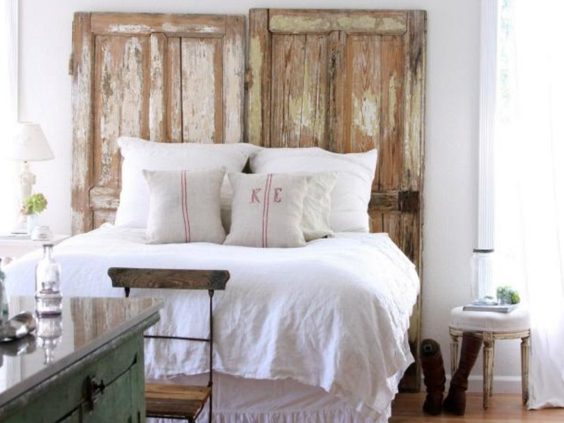 Shabby chic bedroom with neutral colors