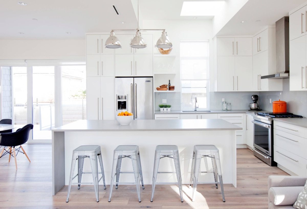 3d Rendering Beautiful Modern White Kitchen With Marble ...
