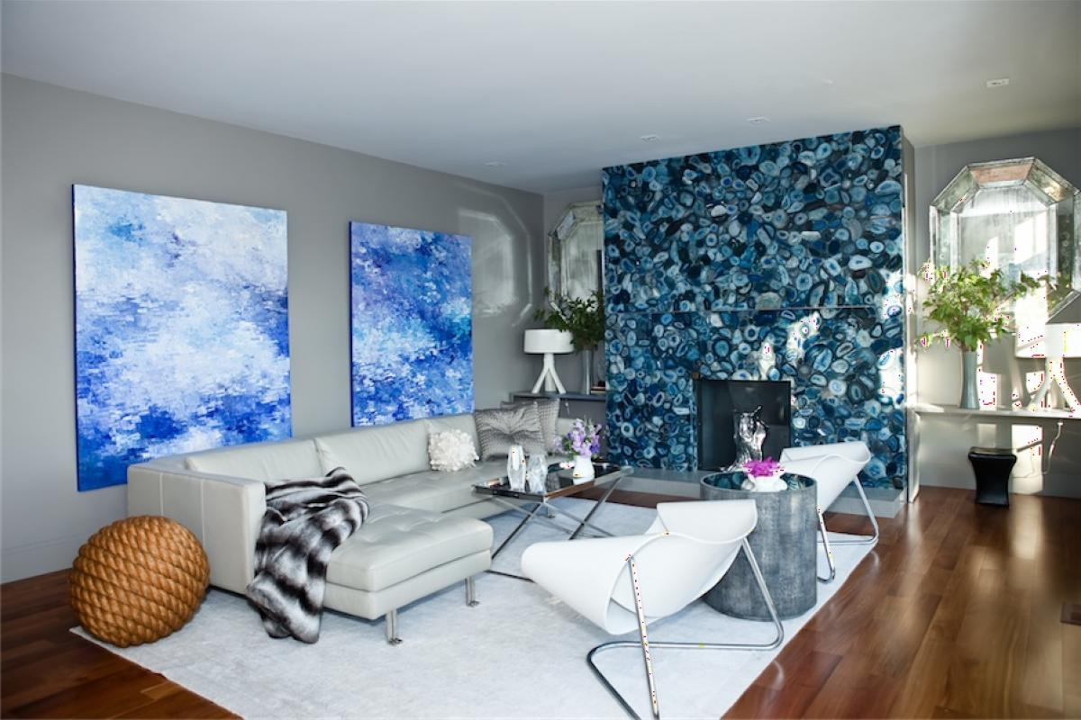 Modern living room with blue feature wall