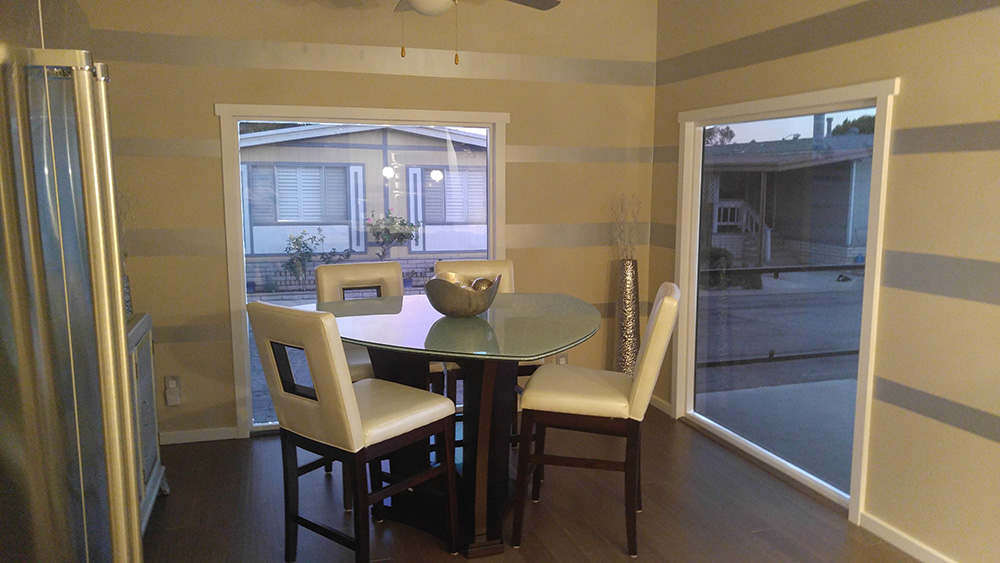Renovated dining room in mobile home