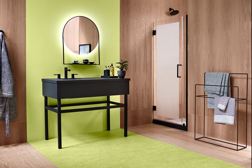 Lime colored bathroom