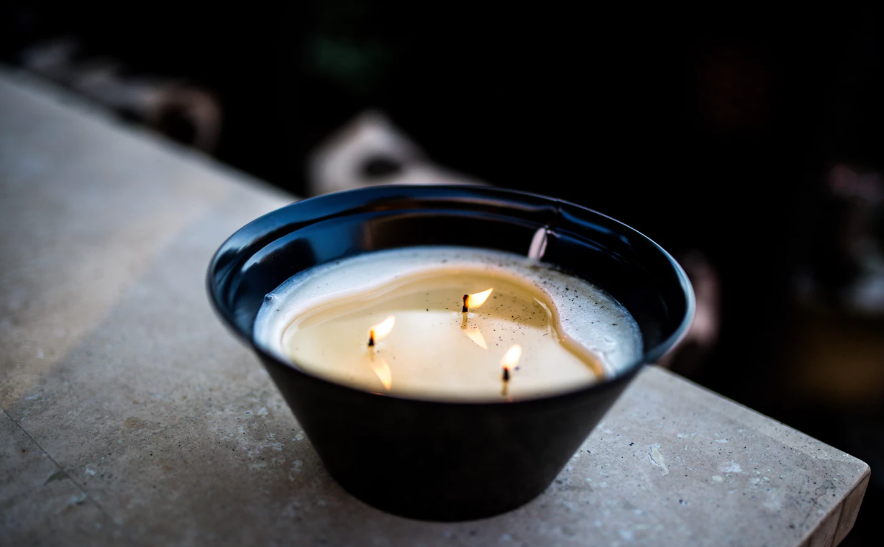 Bowl of melted candles