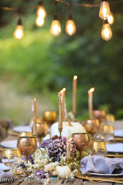 Gold and bold Thanksgiving centerpiece
