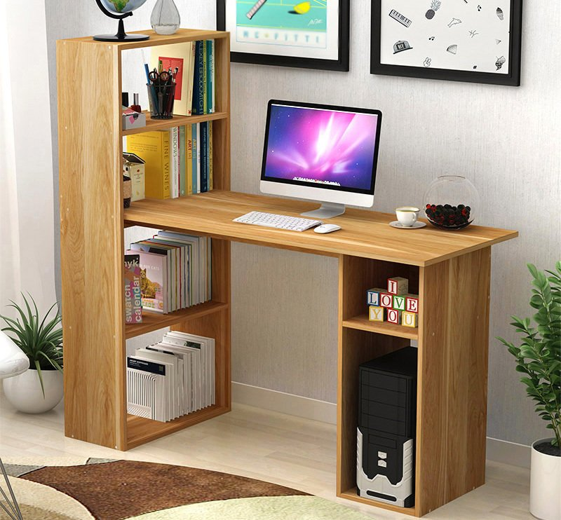 Computer desk with storage shelving