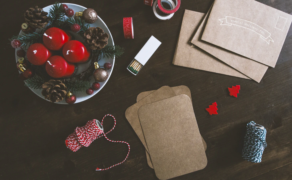 Christmas crafts and envelopes