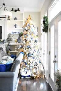 Navy and Gold Flocked Christmas Tree