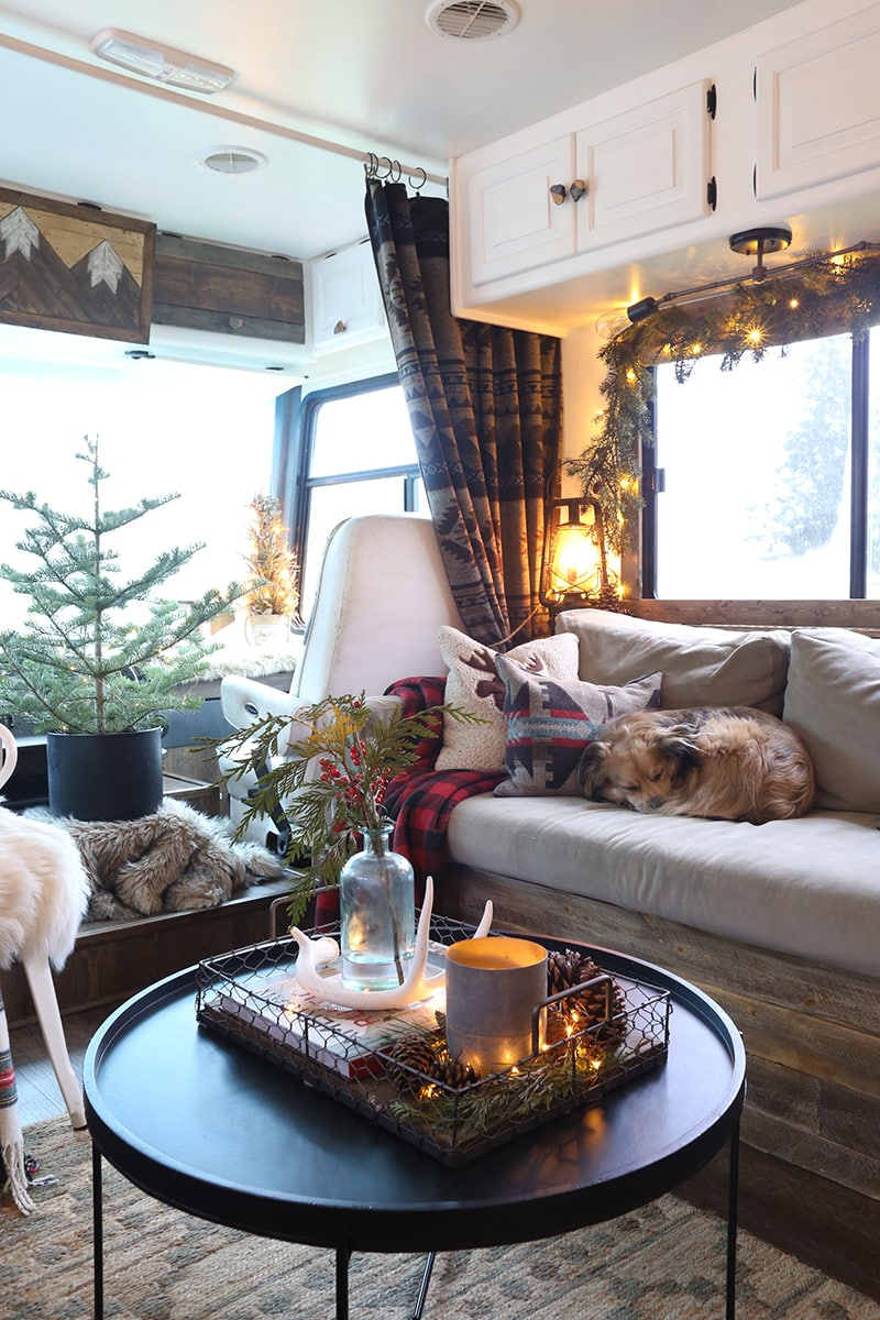 Living area with Christmas decor
