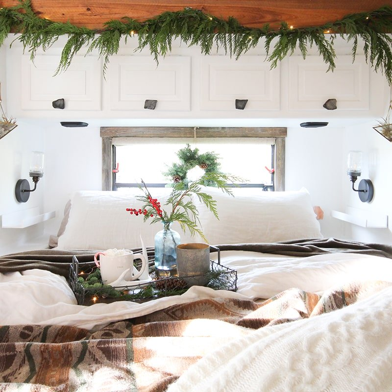 Cozy bed with Christmas decor
