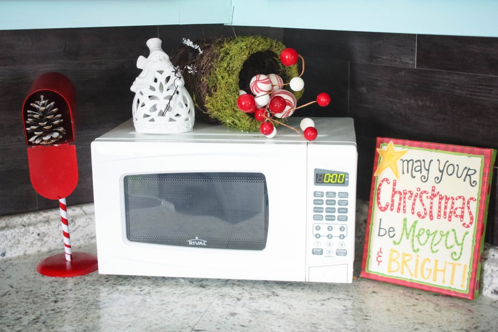 Christmas decor around microwave