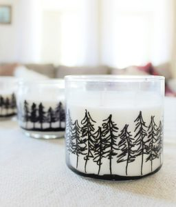 Winter draft pine treeline jar candle
