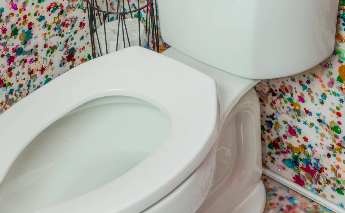 Close up of white toilet