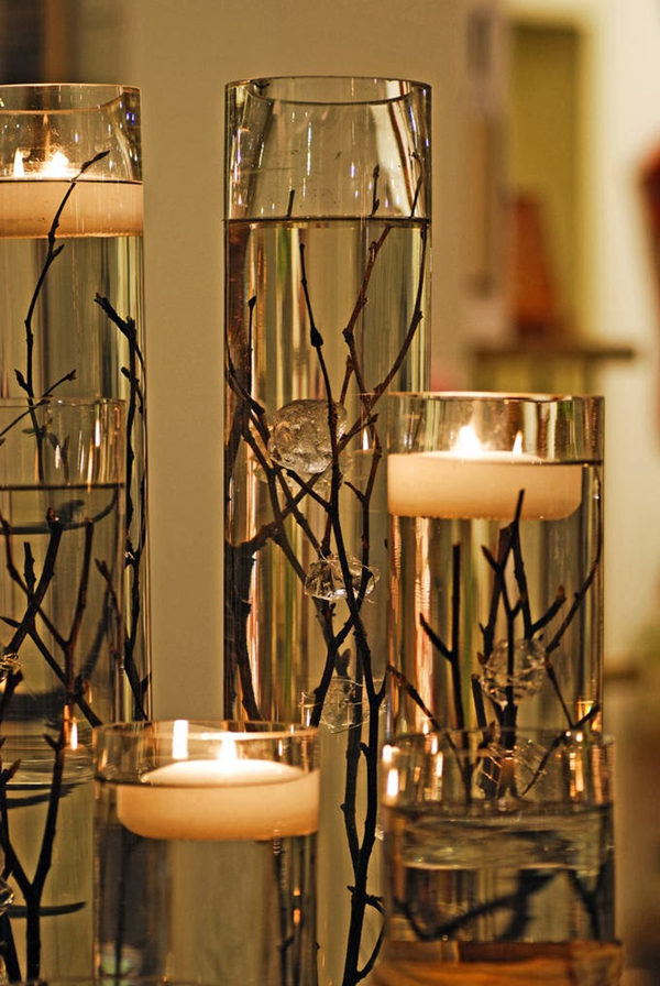 Candles and twigs centerpiece